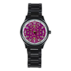 Ladybug In The Forest Of Fantasy Stainless Steel Round Watch by pepitasart