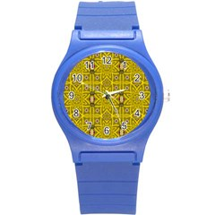 Stars And Flowers In The Forest Of Paradise Love Popart Round Plastic Sport Watch (s) by pepitasart
