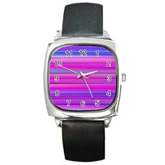 Cool Abstract Lines Square Metal Watch by BangZart