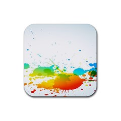 Colorful Abstract Rubber Coaster (square)  by BangZart