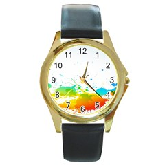 Colorful Abstract Round Gold Metal Watch by BangZart