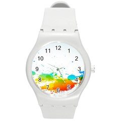 Colorful Abstract Round Plastic Sport Watch (m) by BangZart