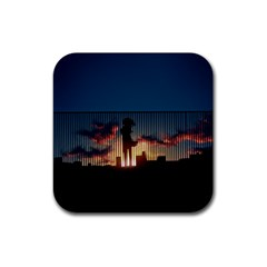Art Sunset Anime Afternoon Rubber Square Coaster (4 Pack)  by BangZart