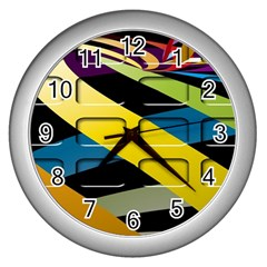 Colorful Docking Frame Wall Clocks (Silver)