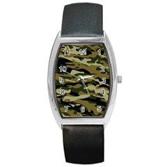 Military Vector Pattern Texture Barrel Style Metal Watch by BangZart