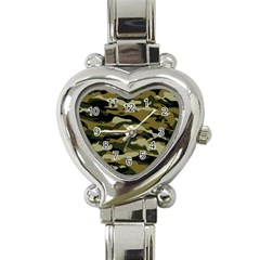 Military Vector Pattern Texture Heart Italian Charm Watch by BangZart