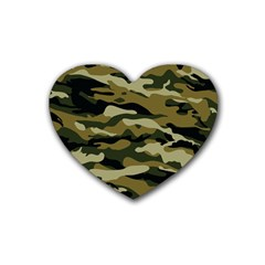 Military Vector Pattern Texture Rubber Coaster (heart)  by BangZart