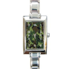 Military Camouflage Pattern Rectangle Italian Charm Watch by BangZart