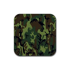 Military Camouflage Pattern Rubber Square Coaster (4 Pack)  by BangZart