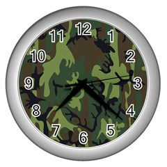 Military Camouflage Pattern Wall Clocks (silver)  by BangZart