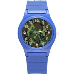 Military Camouflage Pattern Round Plastic Sport Watch (s) by BangZart