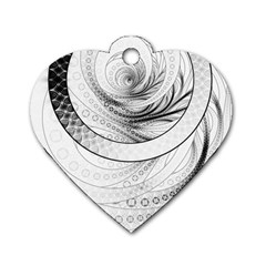 Enso, A Perfect Black And White Zen Fractal Circle Dog Tag Heart (one Side) by jayaprime