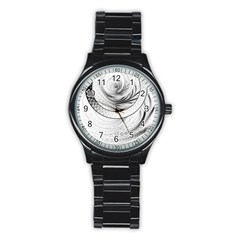 Enso, A Perfect Black And White Zen Fractal Circle Stainless Steel Round Watch by beautifulfractals