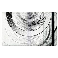 Enso, a Perfect Black and White Zen Fractal Circle Apple iPad Pro 12.9   Flip Case by beautifulfractals