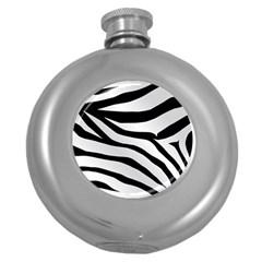 White Tiger Skin Round Hip Flask (5 Oz) by BangZart