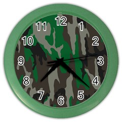 Army Green Camouflage Color Wall Clocks by BangZart