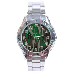 Army Green Camouflage Stainless Steel Analogue Watch by BangZart