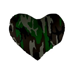 Army Green Camouflage Standard 16  Premium Heart Shape Cushions by BangZart