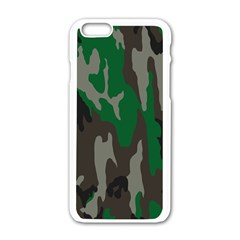 Army Green Camouflage Apple Iphone 6/6s White Enamel Case by BangZart