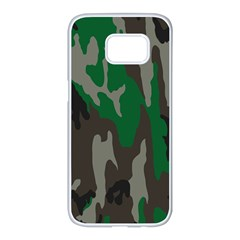 Army Green Camouflage Samsung Galaxy S7 Edge White Seamless Case