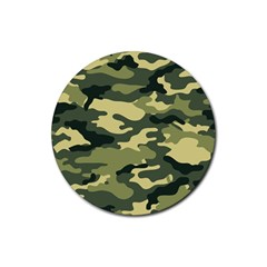 Camouflage Camo Pattern Rubber Coaster (round)  by BangZart
