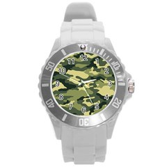 Camouflage Camo Pattern Round Plastic Sport Watch (l) by BangZart