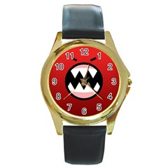 Funny Angry Round Gold Metal Watch by BangZart