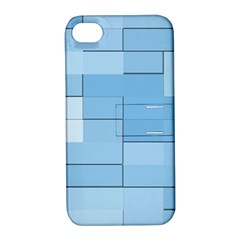 Blue Squares Iphone 5 Wallpaper Apple Iphone 4/4s Hardshell Case With Stand by BangZart