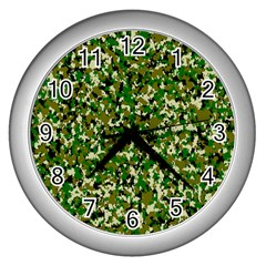 Camo Pattern Wall Clocks (silver)  by BangZart
