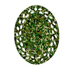 Camo Pattern Oval Filigree Ornament (two Sides) by BangZart