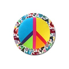 Peace Sign Animals Pattern Magnet 3  (round) by BangZart