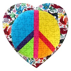 Peace Sign Animals Pattern Jigsaw Puzzle (heart) by BangZart