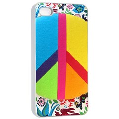 Peace Sign Animals Pattern Apple Iphone 4/4s Seamless Case (white) by BangZart