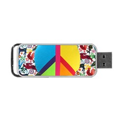 Peace Sign Animals Pattern Portable Usb Flash (one Side) by BangZart