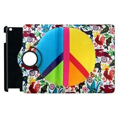 Peace Sign Animals Pattern Apple Ipad 2 Flip 360 Case by BangZart