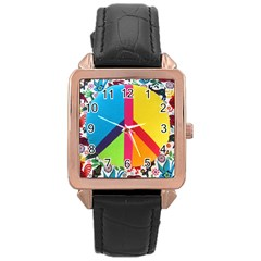 Peace Sign Animals Pattern Rose Gold Leather Watch  by BangZart