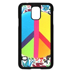 Peace Sign Animals Pattern Samsung Galaxy S5 Case (black) by BangZart