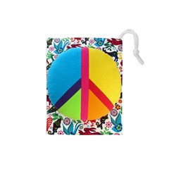 Peace Sign Animals Pattern Drawstring Pouches (small)  by BangZart