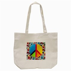 Peace Sign Animals Pattern Tote Bag (cream) by BangZart