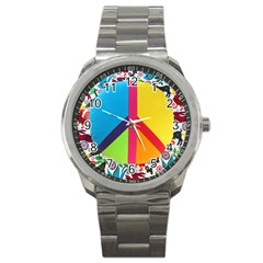 Peace Sign Animals Pattern Sport Metal Watch by BangZart