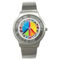 Peace Sign Animals Pattern Stainless Steel Watch by BangZart