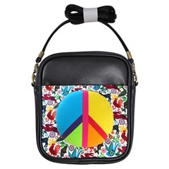 Peace Sign Animals Pattern Girls Sling Bags by BangZart