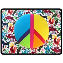 Peace Sign Animals Pattern Double Sided Fleece Blanket (large)  by BangZart
