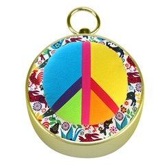 Peace Sign Animals Pattern Gold Compasses by BangZart