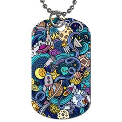 Cartoon Hand Drawn Doodles On The Subject Of Space Style Theme Seamless Pattern Vector Background Dog Tag (two Sides) by BangZart