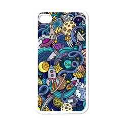 Cartoon Hand Drawn Doodles On The Subject Of Space Style Theme Seamless Pattern Vector Background Apple Iphone 4 Case (white) by BangZart