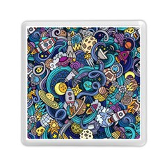 Cartoon Hand Drawn Doodles On The Subject Of Space Style Theme Seamless Pattern Vector Background Memory Card Reader (square)  by BangZart