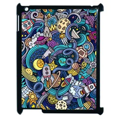 Cartoon Hand Drawn Doodles On The Subject Of Space Style Theme Seamless Pattern Vector Background Apple Ipad 2 Case (black) by BangZart