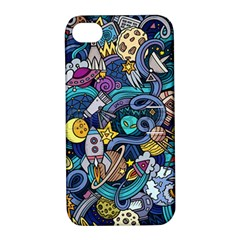 Cartoon Hand Drawn Doodles On The Subject Of Space Style Theme Seamless Pattern Vector Background Apple Iphone 4/4s Hardshell Case With Stand by BangZart