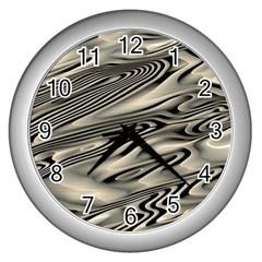 Alien Planet Surface Wall Clocks (silver)  by BangZart